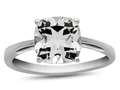 10k White Gold 7mm Cushion White Topaz Ring