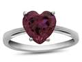 10k White Gold 7mm Heart Shaped Created Ruby Ring