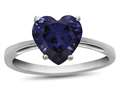 10k White Gold 7mm Heart Shaped Created Sapphire Ring