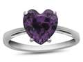 10k White Gold 7mm Heart Shaped Simulated Alexandrite Ring