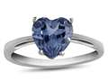 10k White Gold 7mm Heart Shaped Simulated Aquamarine Ring