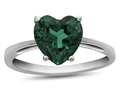 10k White Gold 7mm Heart Shaped Simulated Emerald Ring