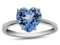 10k White Gold 7mm Heart Shaped Swiss Blue Topaz Ring