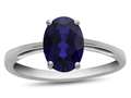 10k White Gold 7x5mm Oval Created Sapphire Ring