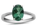 10k White Gold 7x5mm Oval Simulated Emerald Ring
