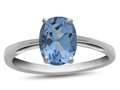 10k White Gold 7x5mm Oval Swiss Blue Topaz Ring