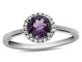 10k White Gold 6mm Round Amethyst with White Topaz accent stones Halo Ring