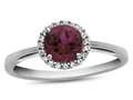 Finejewelers 10k White Gold 6mm Round Created Ruby with White Topaz accent stones Halo Ring