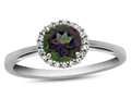 10k White Gold 6mm Round Mystic Topaz with White Topaz accent stones Halo Ring