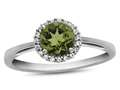 10k White Gold 6mm Round Peridot with White Topaz accent stones Halo Ring