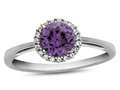 10k White Gold 6mm Round Simulated Alexandrite with White Topaz accent stones Halo Ring