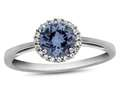 10k White Gold 6mm Round Simulated Aquamarine with White Topaz accent stones Halo Ring