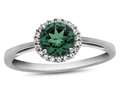 10k White Gold 6mm Round Simulated Emerald with White Topaz accent stones Halo Ring