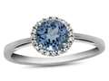 10kt White Gold 6mm Round Swiss Blue Topaz with White Topaz accent stones Halo Ring