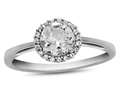 10k White Gold 6mm Round White Topaz with White Topaz accent stones Halo Ring