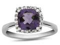 10k White Gold 6mm Cushion Amethyst with White Topaz accent stones Halo Ring