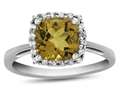10k White Gold 6mm Cushion Citrine with White Topaz accent stones Halo Ring
