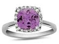 Finejewelers 10k White Gold 6mm Cushion-Cut Created Pink Sapphire with White Topaz accent stones Halo Ring