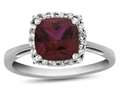 Finejewelers 10k White Gold 6mm Cushion Created Ruby with White Topaz accent stones Halo Ring