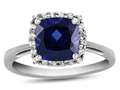 10k White Gold 6mm Cushion Created Sapphire with White Topaz accent stones Halo Ring
