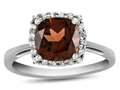 10k White Gold 6mm Cushion Garnet with White Topaz accent stones Halo Ring