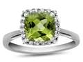 10k White Gold 6mm Cushion Peridot with White Topaz accent stones Halo Ring