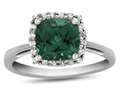 10k White Gold 6mm Cushion Simulated Emerald with White Topaz accent stones Halo Ring