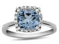 10k White Gold 6mm Cushion Swiss Blue Topaz with White Topaz accent stones Halo Ring