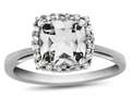 10k White Gold 6mm Cushion White Topaz with White Topaz accent stones Halo Ring