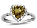 10k White Gold 6mm Heart Shaped Citrine with White Topaz accent stones Halo Ring
