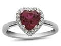 10k White Gold 6mm Heart Shaped Created Ruby with White Topaz accent stones Halo Ring
