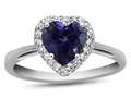 10kt White Gold 6mm Heart Shaped Created Sapphire with White Topaz accent stones Halo Ring