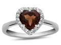10kt White Gold 6mm Heart Shaped Garnet with White Topaz accent stones Halo Ring