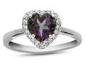 10k White Gold 6mm Heart Shaped Mystic Topaz with White Topaz accent stones Halo Ring