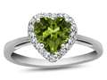 10kt White Gold 6mm Heart Shaped Peridot with White Topaz accent stones Halo Ring