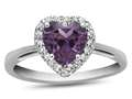 10k White Gold 6mm Heart Shaped Simulated Alexandrite with White Topaz accent stones Halo Ring