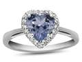10kt White Gold 6mm Heart Shaped Simulated Aquamarine with White Topaz accent stones Halo Ring