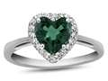 10k White Gold 6mm Heart Shaped Simulated Emerald with White Topaz accent stones Halo Ring