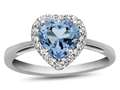 10k White Gold 6mm Heart Shaped Swiss Blue Topaz with White Topaz accent stones Halo Ring