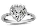 10k White Gold 6mm Heart Shaped White Topaz with White Topaz accent stones Halo Ring