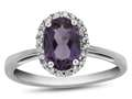 10k White Gold 7x5mm Oval Amethyst with White Topaz accent stones Halo Ring