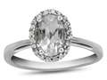 10k White Gold 7x5mm Oval White Topaz with White Topaz accent stones Halo Ring