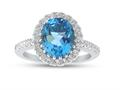 Finejewelers Sterling Silver 3.90 cttw 8x10mm Oval Swiss Blue Topaz and White Topaz side stones Halo Ring