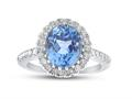 Finejewelers Sterling Silver 8x10mm Oval Simulated Aquamarine and White Topaz accent stones Halo Ring
