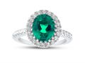 Finejewelers Sterling Silver 8x10mm Oval Simulated Emerald and White Topaz accent stones Halo Ring