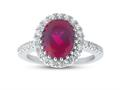 Finejewelers Sterling Silver 3.90 cttw 8x10mm Oval Created Ruby and White Topaz accent stones Halo Ring