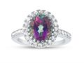 Finejewelers Sterling Silver 3.80 cttw 8x10mm Oval Mystic Topaz and White Topaz accent stones Halo Ring