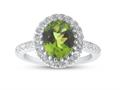 Finejewelers Sterling Silver 3.28 cttw 8x10mm Oval Peridot and White Topaz accent stones Halo Ring