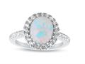 Finejewelers Sterling Silver 2.35 cttw 8x10mm Oval Created Opal and White Topaz accent stones Halo Ring