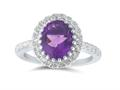 Finejewelers Sterling Silver 2.65 cttw 8x10mm Oval Amethyst and White Topaz accent stones Halo Ring